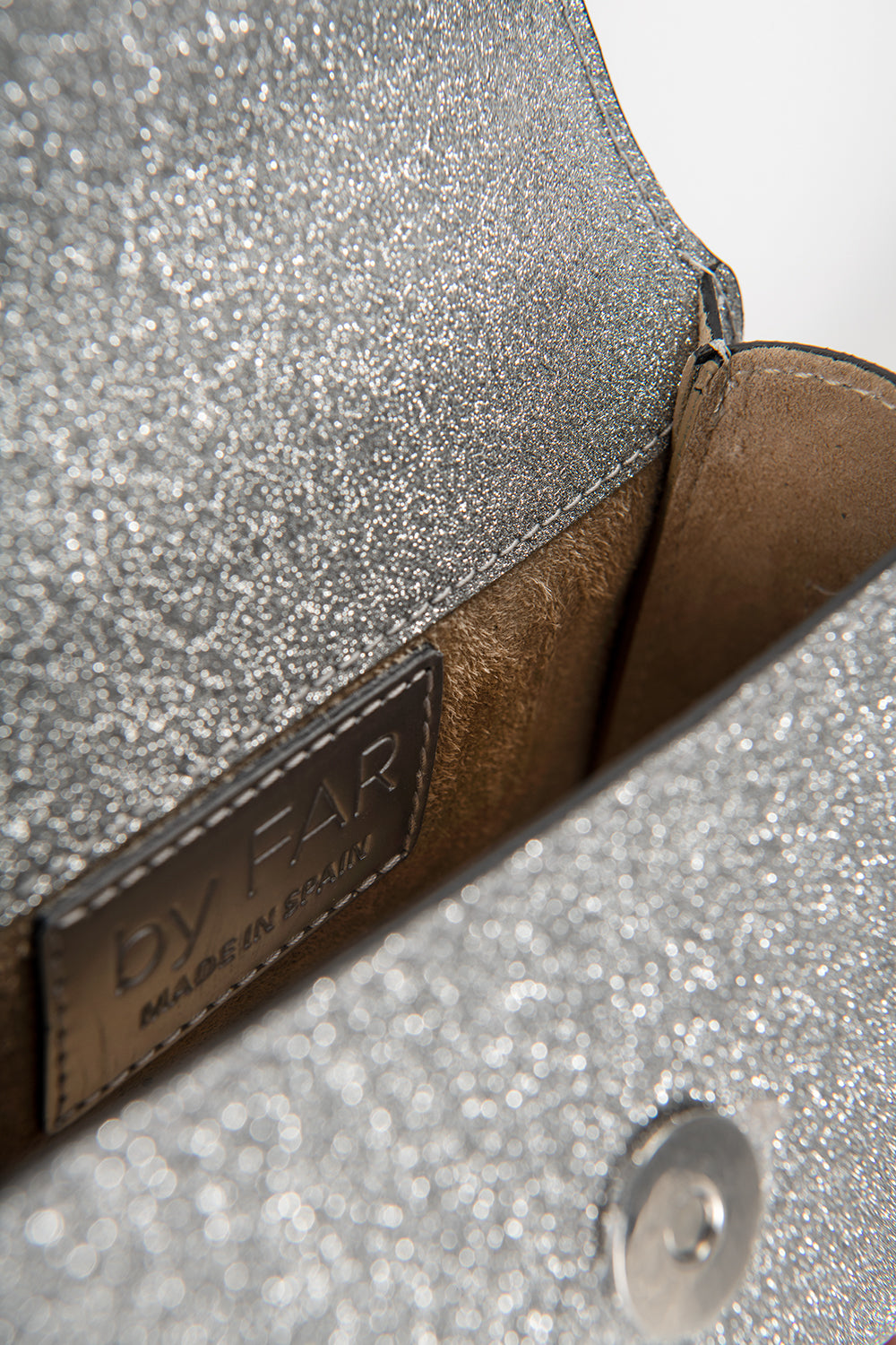 Mini Silver Glitter Leather
