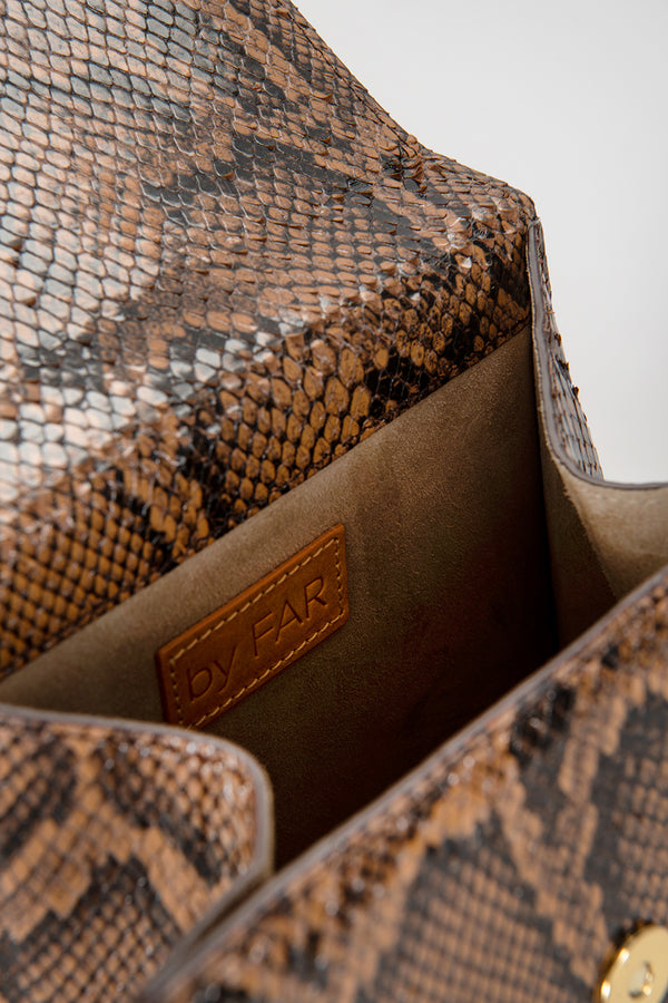 Monet Brown Snake Print Leather