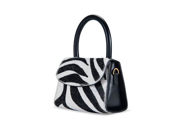 Mini Zebra Print Pony Hair Leather