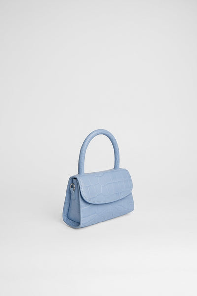 Mini Sky Blue Croco Embossed Leather