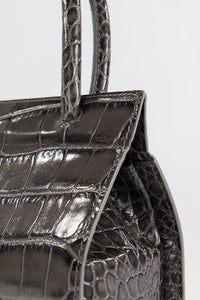 Val Bag Grey Croco Embossed Leather