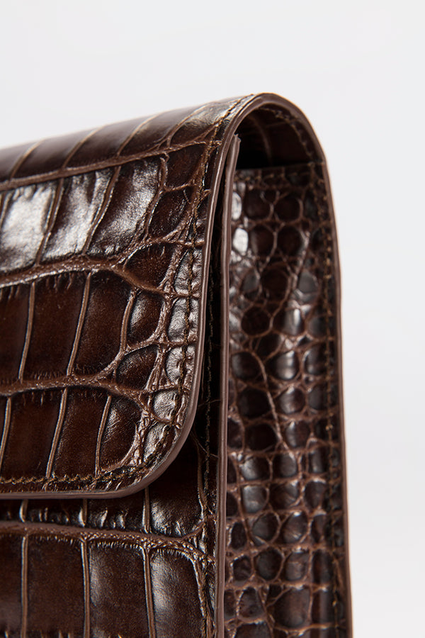 Crossover Nutella Croco Embossed Leather