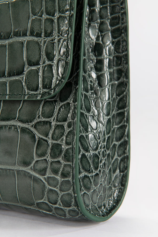 Crossover Green Croco Embossed Leather