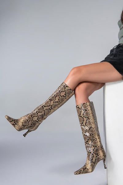 Stevie 42 Mocha Snake Print Leather