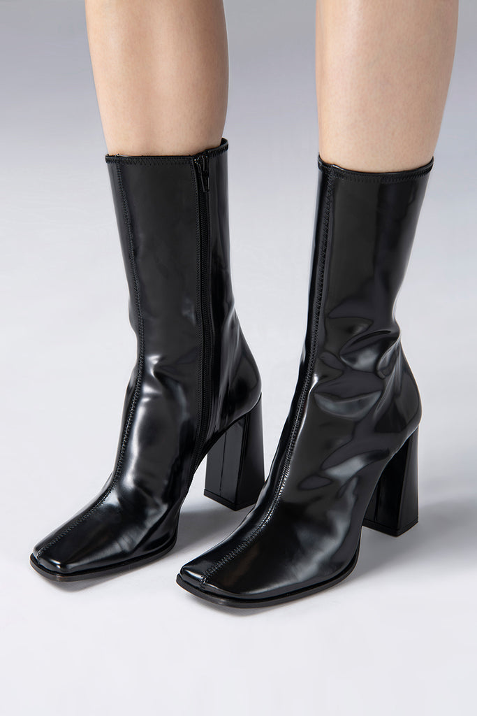 Linda Black Semi Patent Leather