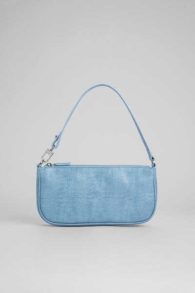 Rachel Sky Blue Lizard Embossed Leather