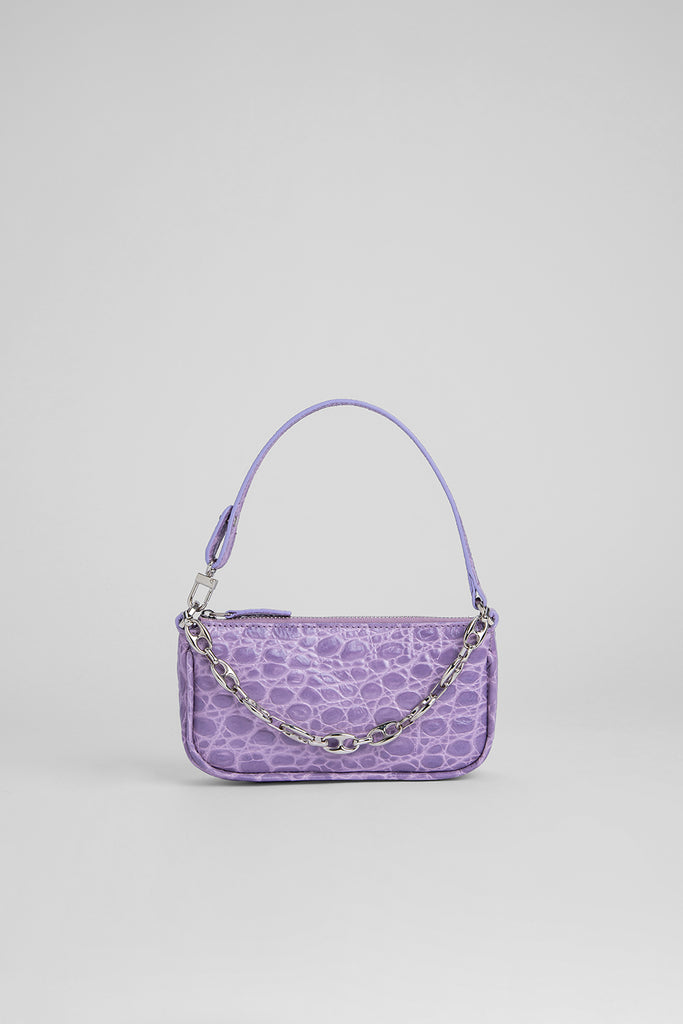 Mini Rachel Lilac Circular Croco Embossed Leather