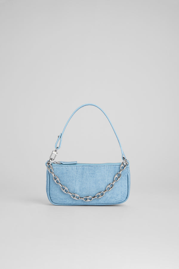 Mini Rachel Sky Blue Lizard Embossed Leather