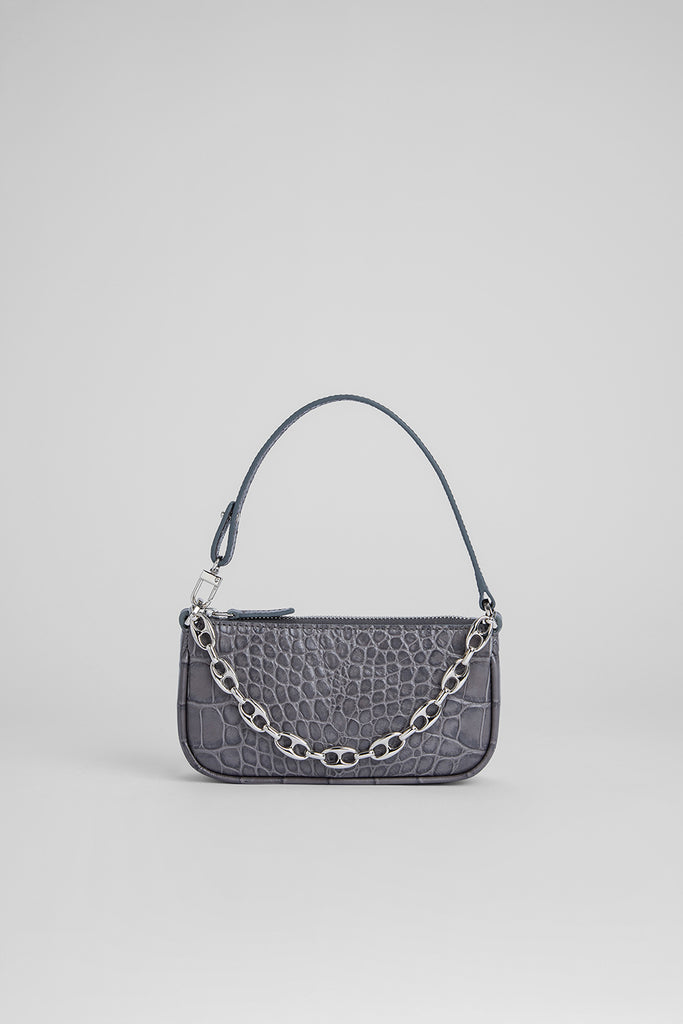 Mini Rachel Grey Croco Embossed Leather