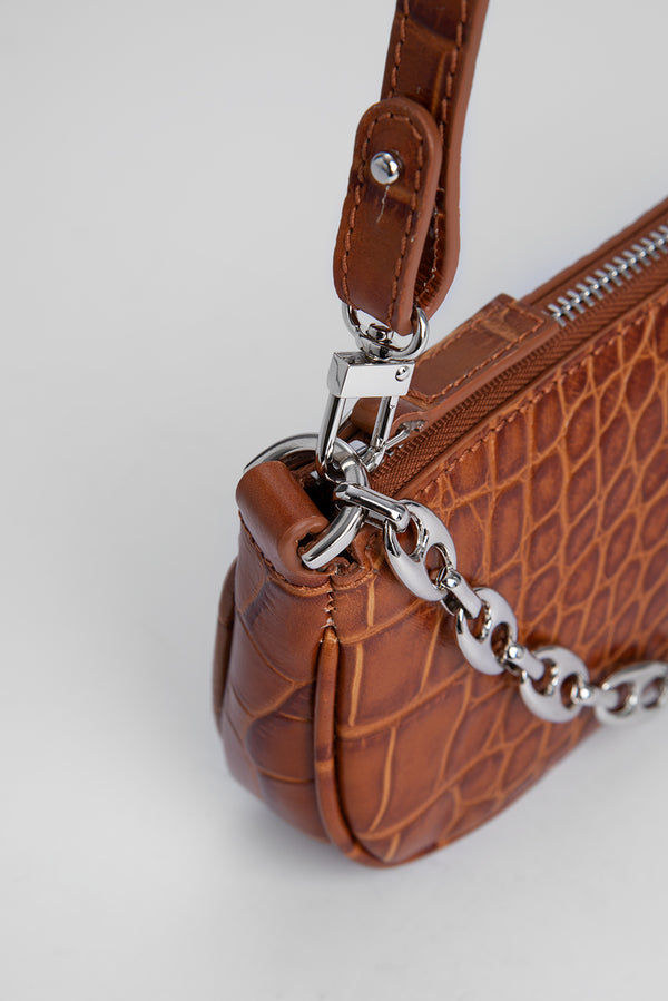 Mini Rachel Tan Croco Embossed Leather