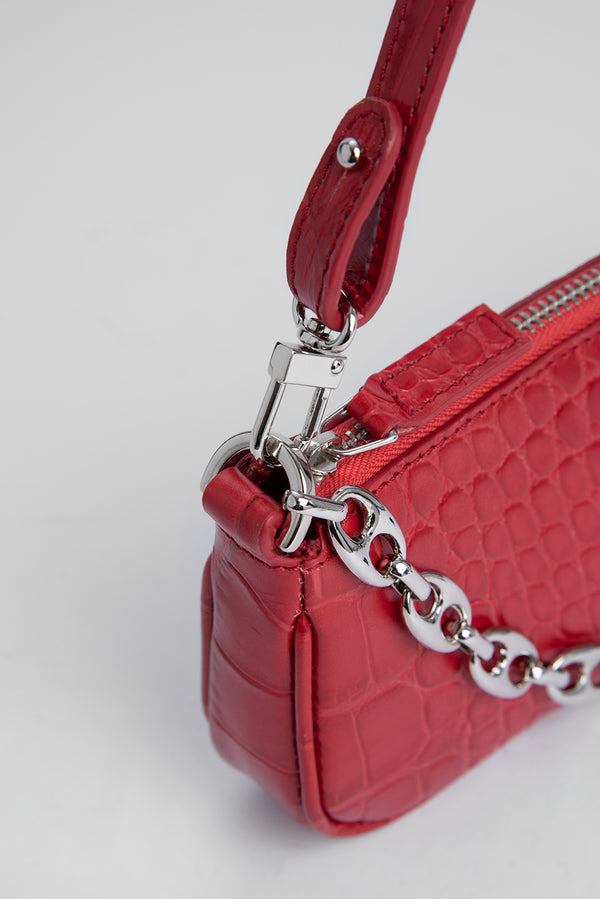 Mini Rachel Red Croco Embossed Leather
