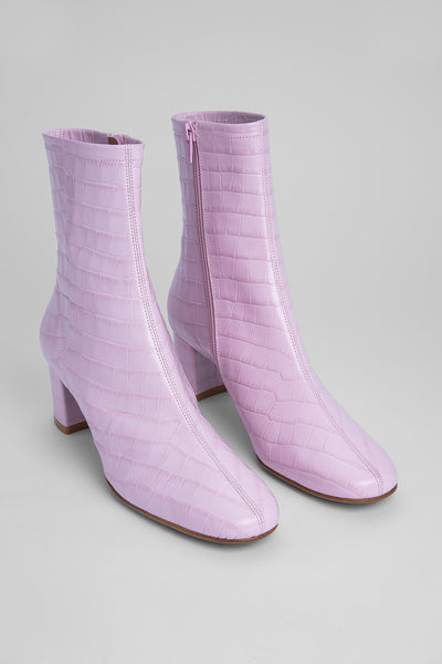 Sofia Pink Croco Embossed Leather