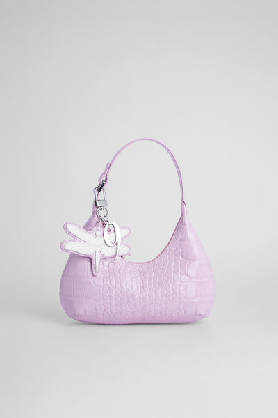 Neufmode Charm Pink Croco Embossed Leather