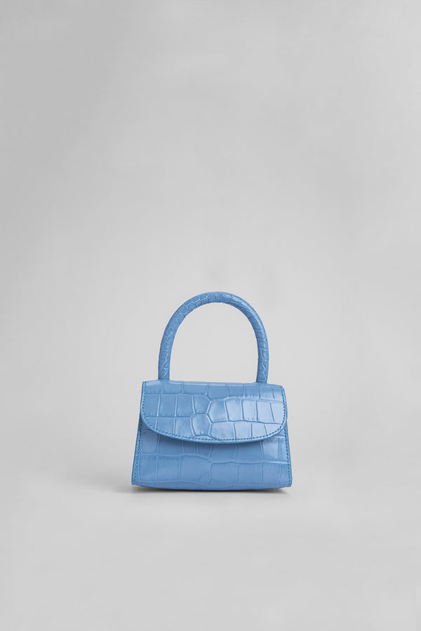 Mini Blue Croco Embossed Leather