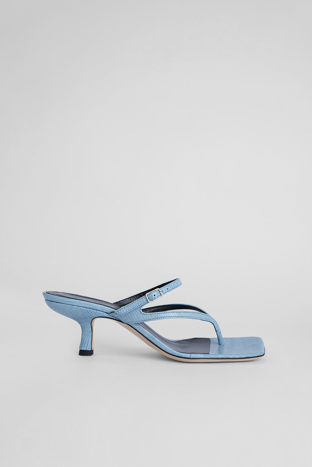 Desiree Sky Blue Lizard Embossed Leather