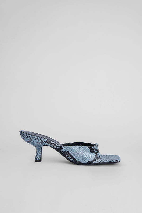 Erin Light Blue Snake Print Leather