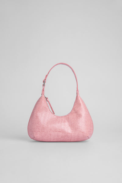 Baby Amber Pink Lizard Embossed Leather