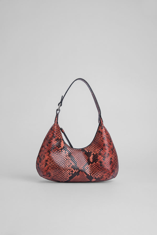 Baby Amber Burgundy Snake Print Leather