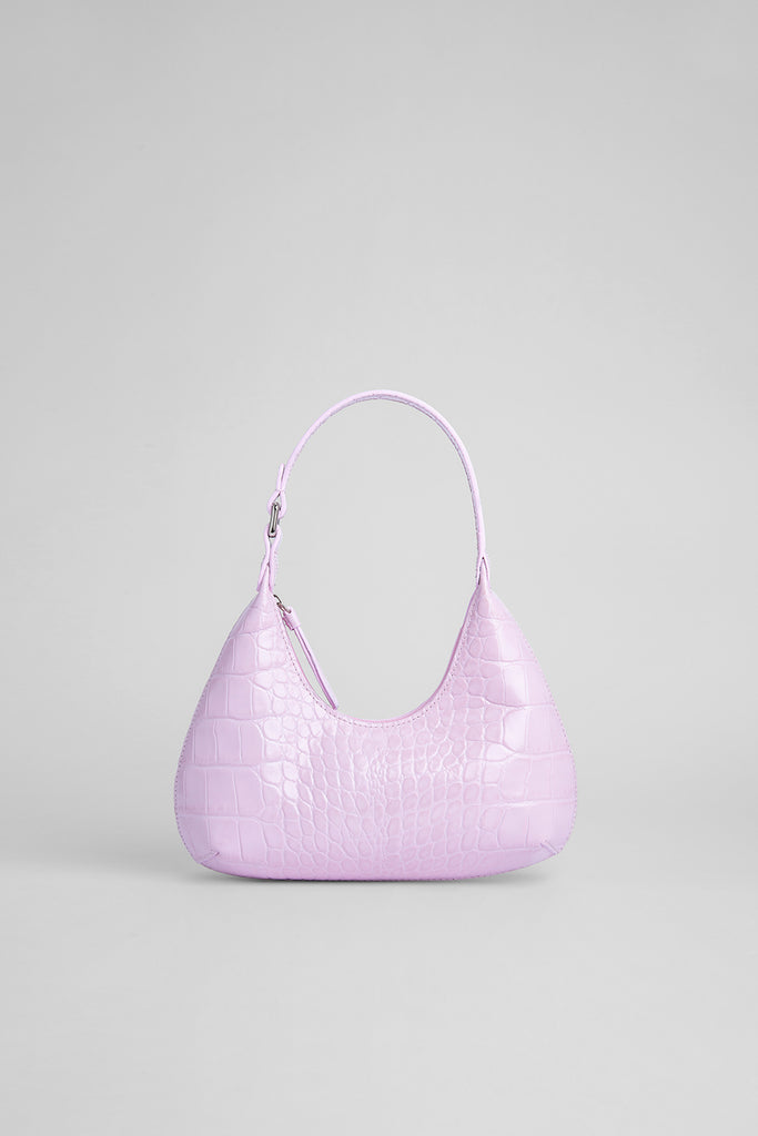 Baby Amber Pink Croco Embossed Leather