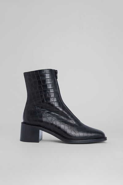 Bruna Black Croco Embossed Leather
