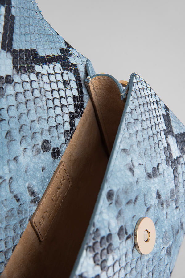 Mini Blue Snake Print Leather