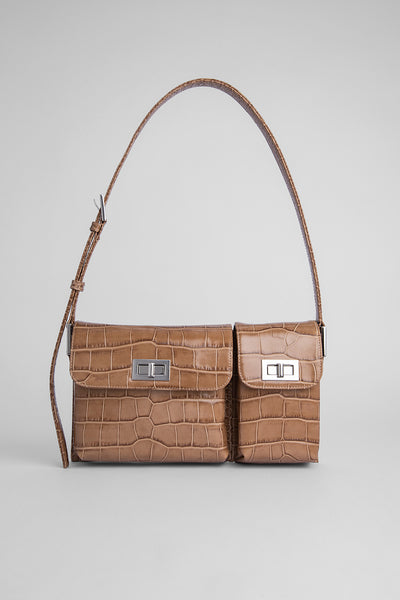 Billy Taupe Croco Embossed Leather