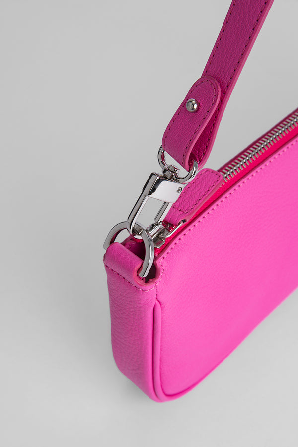 Rachel Hot Pink Grained Leather