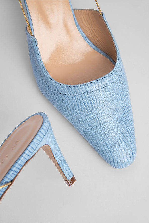 Gabriella Sky Blue Lizard Embossed Leather