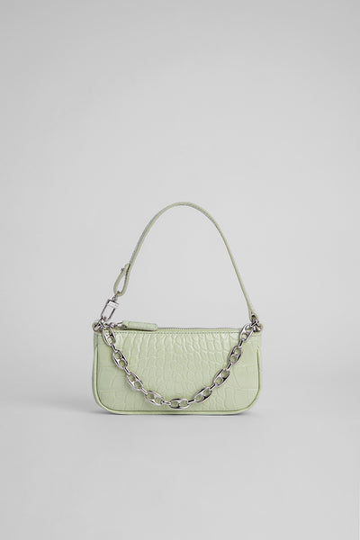 Mini Rachel Sage Green Croco Embossed Leather