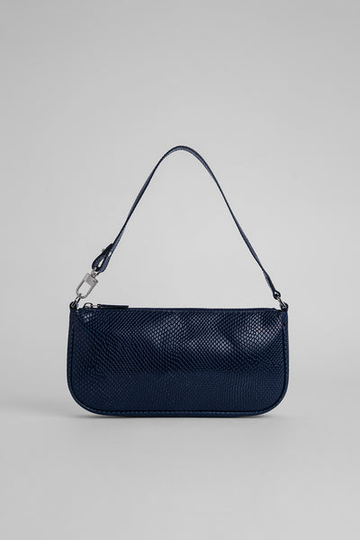 Rachel Deep Blue Snake Print Leather