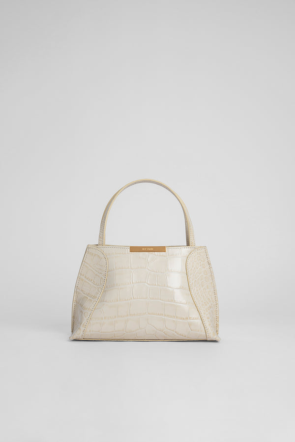 Charlotte Cream Croco Embossed Leather