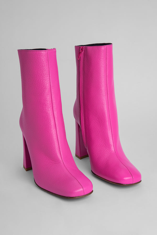 Elliot Hot Pink Grained Leather