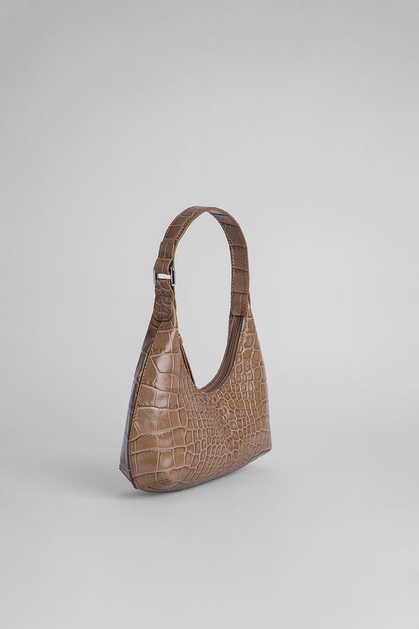 Baby Amber Taupe Croco Embossed Leather
