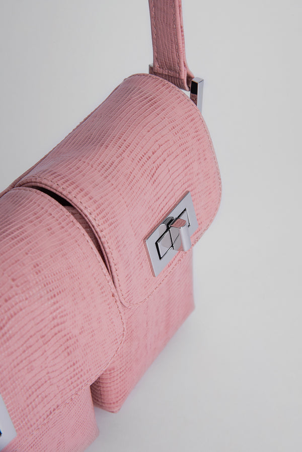 Billy Pink Lizard Embossed Leather