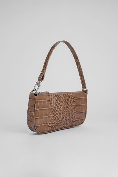 Rachel Taupe Croco Embossed Leather