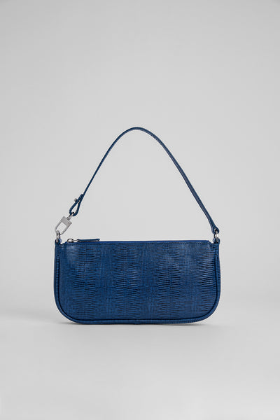 Rachel Deep Blue Lizard Embossed Leather