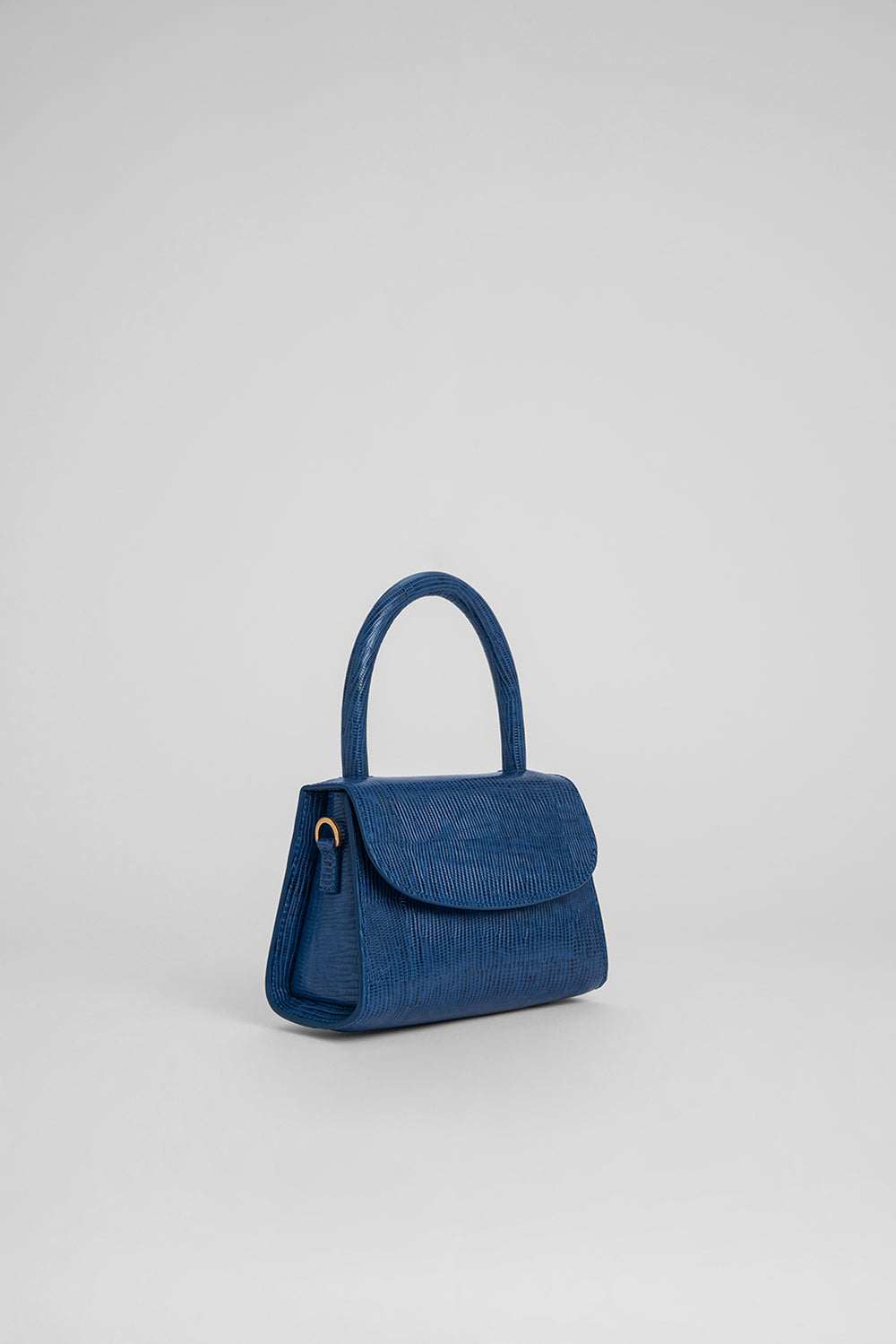 Mini Deep Blue Lizard Embossed Leather