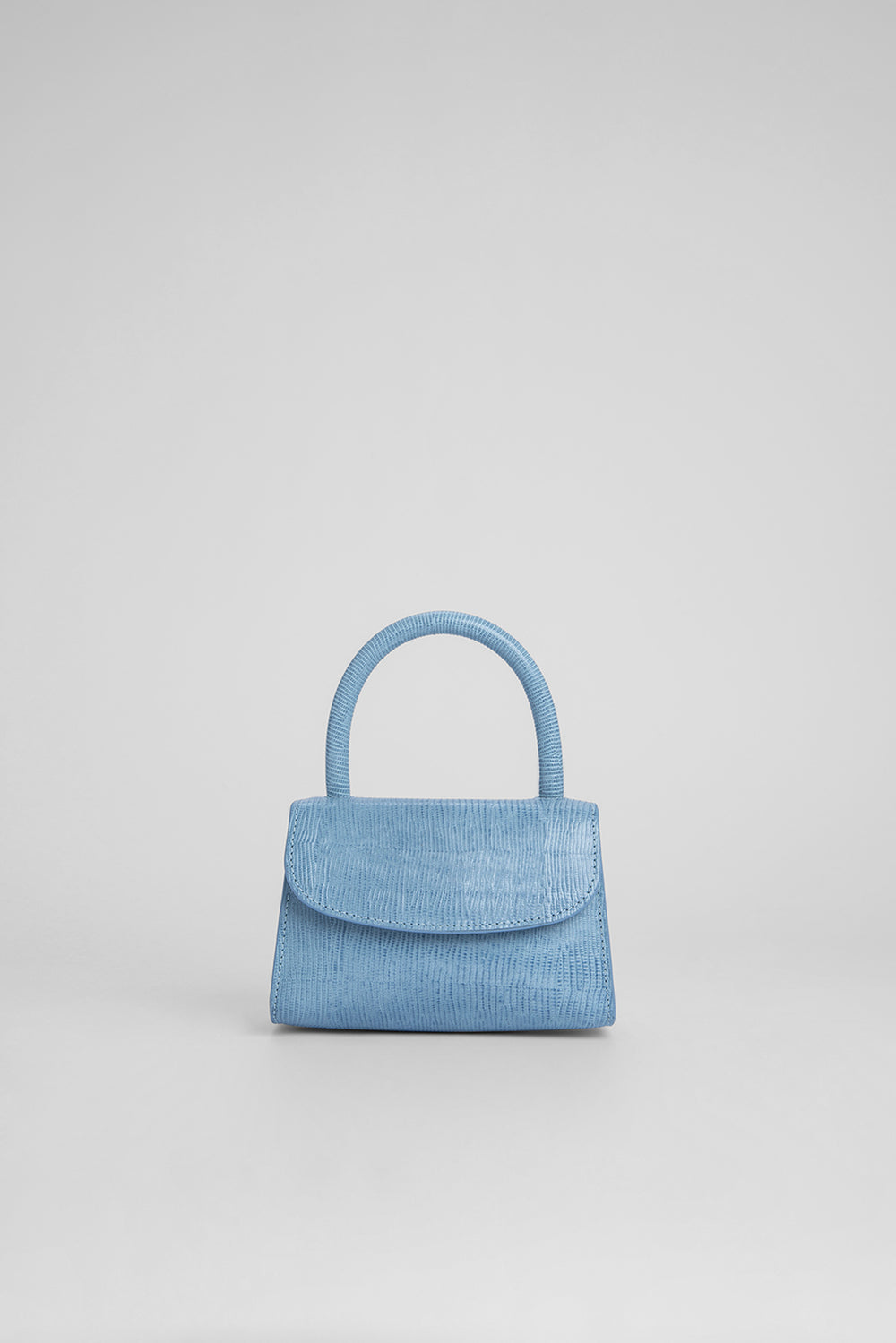 Mini Sky Blue Lizard Embossed Leather