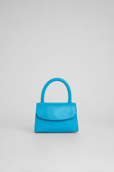 Mini Electric Blue Lizard Embossed Leather