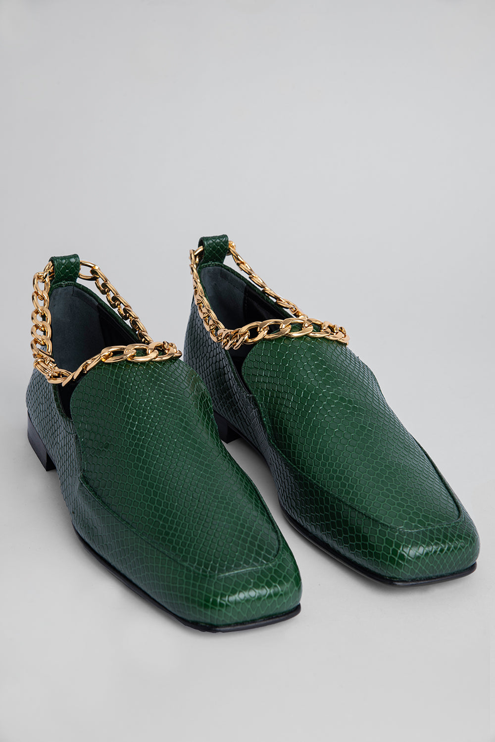 Nick Emerald Snake Print Leather