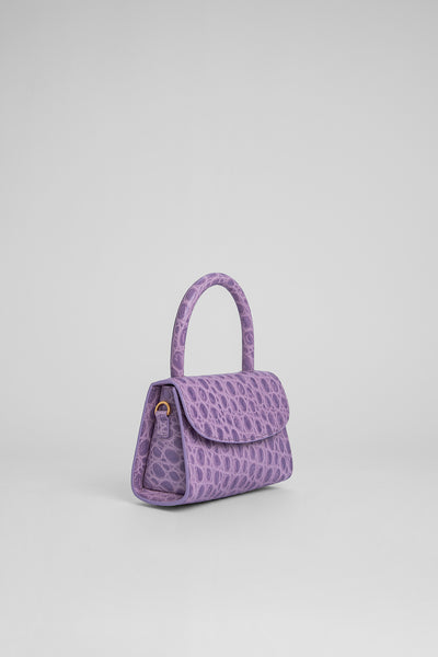Mini Lilac Circular Croco Embossed Leather