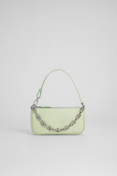 Mini Rachel Sage Green Lizard Embossed Leather