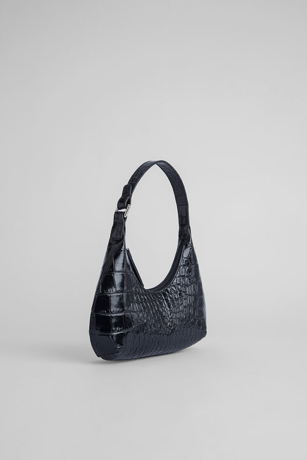 Baby Amber Black Croco Embossed Leather