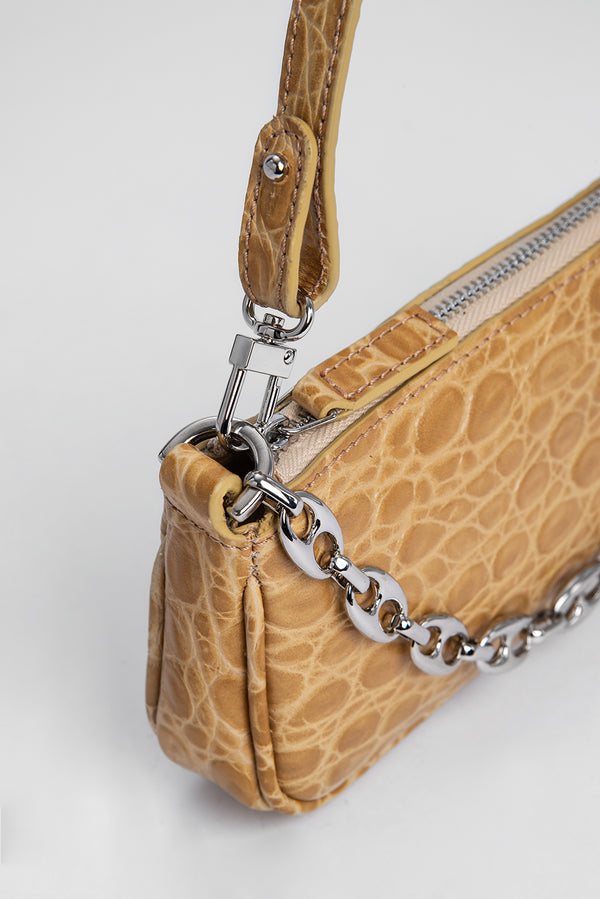 Mini Rachel Nude Croco Embossed Leather