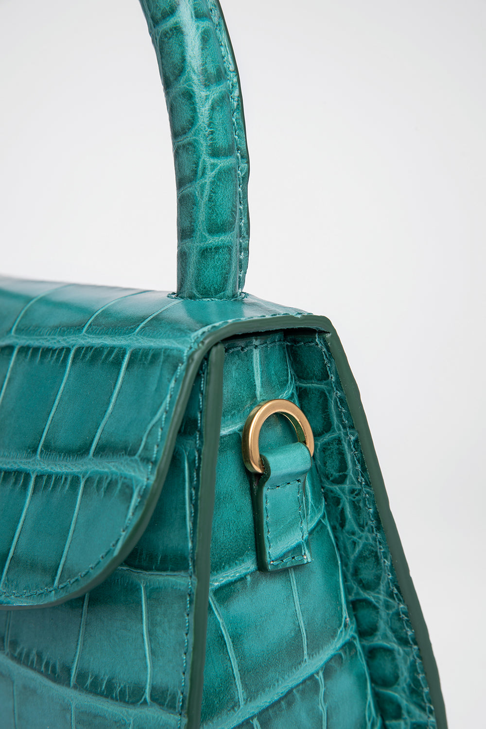 Mini Turquoise Croco Embossed Leather