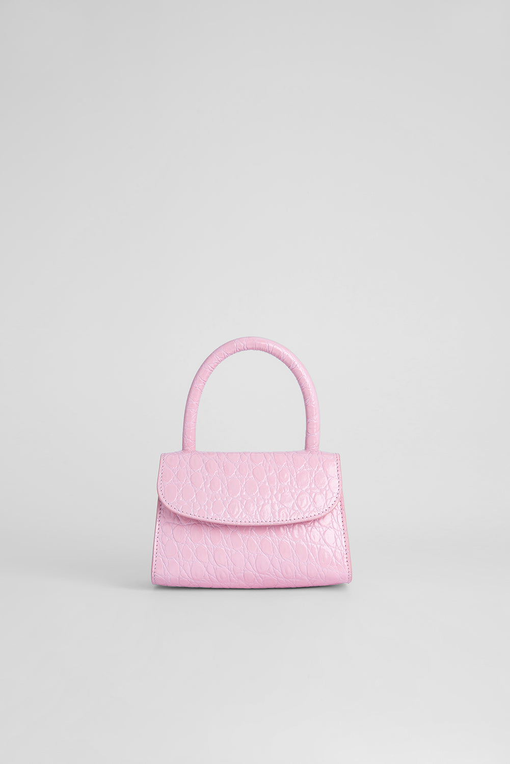 Mini Peony Circular Croco Embossed Leather