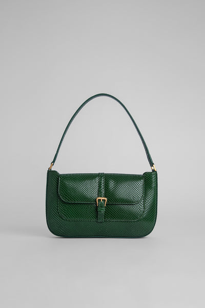 Miranda Emerald Snake Print Leather