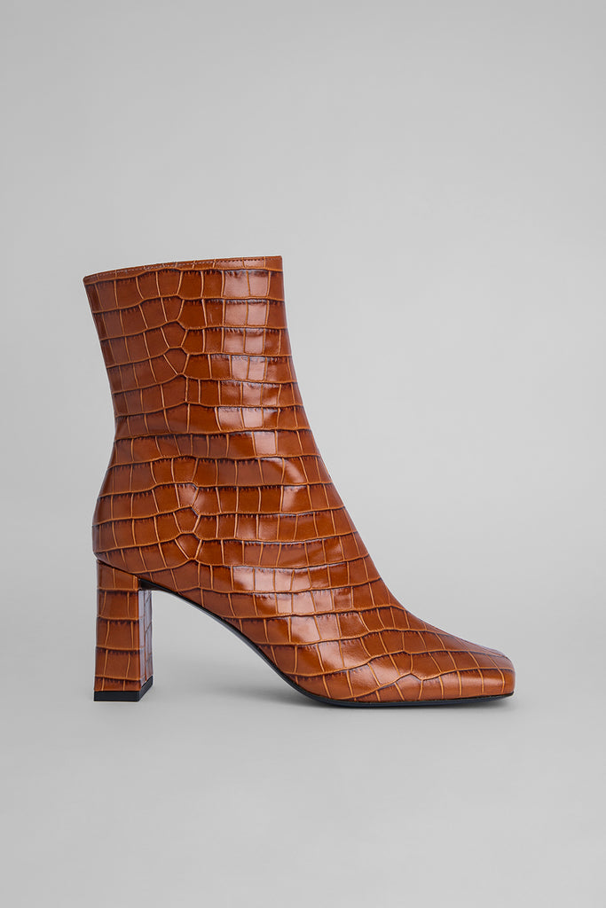 Celine Tan Croco Embossed Leather