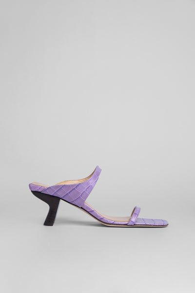 Paola Lilac Croco Embossed Leather