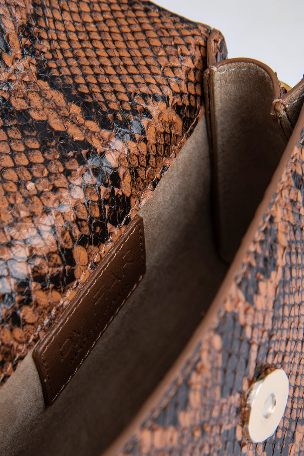 Mini Brown Snake Print Leather